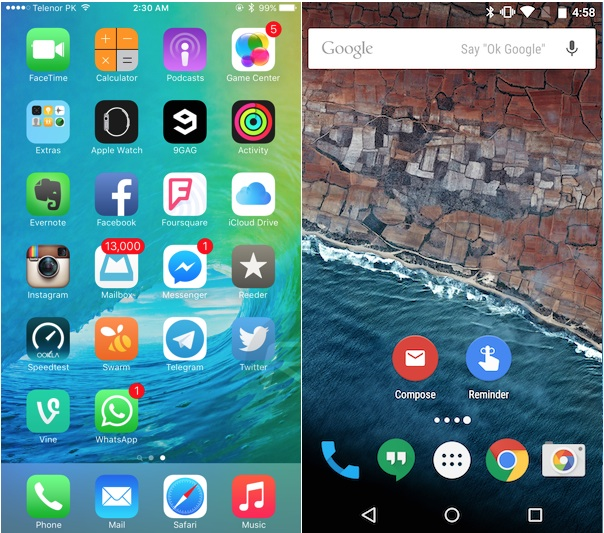 Apple iOS 9 vs Android 6.0